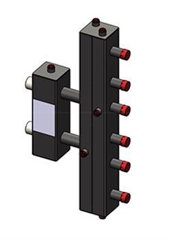 Гидроразделитель Zota с коллектором вертикальный, 3 контура, до 70 кВт